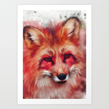 Red fox art #fox #animals Art Print by jbjart