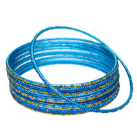 Blue Glitter Thin Stack Bangle Bracelets