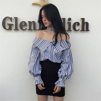 New  Korean style Summer Sexy Blouse Button Casual Shirt Cute Puff Sleeve Steiped Blusas Plus Size Women Tops 72520 SM6