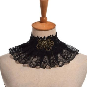1pc Women Gothic Punk Lady Vintage Steampunk Butterfly Gear Lace Collar