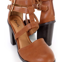 Cognac Strappy Chunky Heel Booties Faux Leather