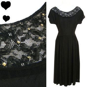 Dress Vintage 40s Black Lace ILLUSION WWII Rayon Crepe  S Swing NOIR Rhinestones
