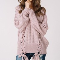 Olwen Lace Up Sweater - Mauve