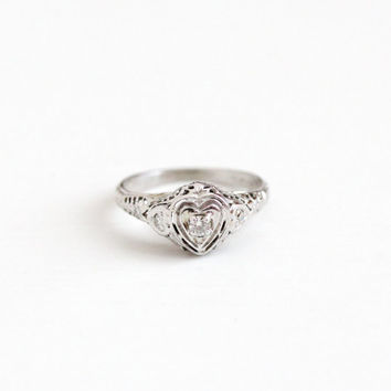 Vintage 18k White Gold Art Deco Heart Diamond Ring - Antique Size 7 3/4 Filigree 1930 Romantic Promise Engagement Bridal Fine Flower Jewelry