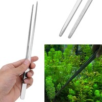 27cm Stainless Steel Aquarium Plant Cleaner Fish Pet Tank Straight Crooked Tweezer Fish Tank Cleaning Tool