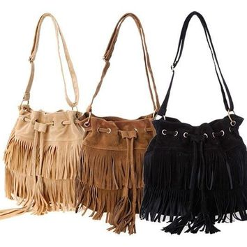 Day-First™ Faux Suede Fringe Tassel Shoulder Bag Women Handbags Messenger Bag SV013740|27701 = 1652570180