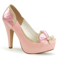 Pin Up Couture Bettie-20 Pink Scalloped Slip On Pumps