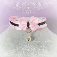 Kitten Pet Play Cat Collar Costume Choker Necklace Baby Pink Black Satin O Ring Bell kitty pastel goth Lolita Neko BDSM DDLG