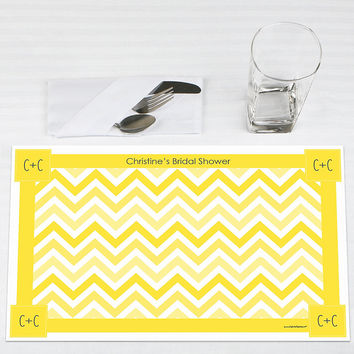 Chevron Yellow - Personalized Bridal Shower Placemats