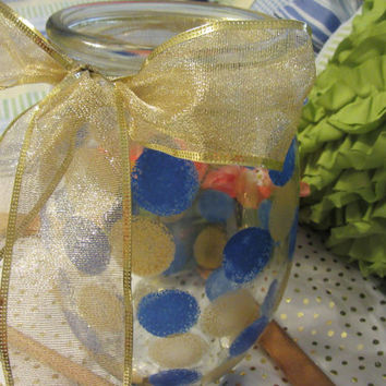 Unique One of A Kind Hand Painted Large HAPPY DOTS Special Polka Dot Flower Wedding Centerpiece Vase in Blue and Gold With A Gold Bow