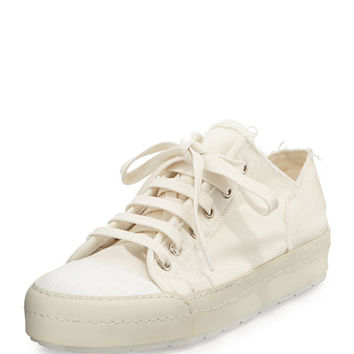 MM6 Maison Martin Margiela Frayed Canvas Platform Sneaker, White