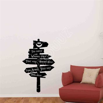 WXDUUZ Alice In Wonderland Road Sign Wall Decal Vinyl Sticker Children Decor Poster living room space Vinyl Wall Sticker  B387