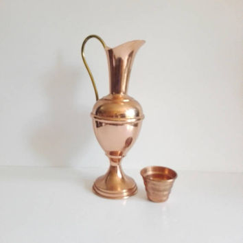 Vintage pitcher, copper color, pitcher, copper decor, kitchen decor, french vintage, storage jar, kitchen jar, vintage jar, vintage copper