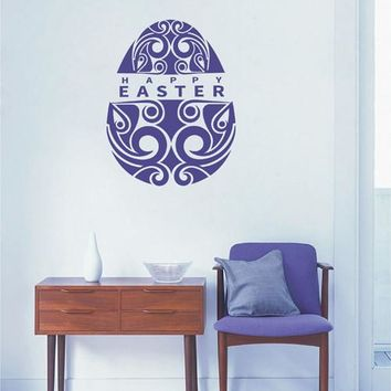 ik2671 Wall Decal Sticker Egg Happy Easter wishes shop stained glass window