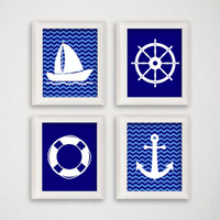 Nautical Art Print Set, Baby Boy Nursery, Nursery Art Print, Nautical Home Decor, Anchor, Boat, Nautical Nursery, Nautical Wall Art, Chevron