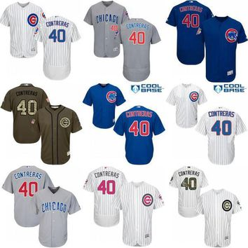2016 World Series Champions patch Chicago Cubs mens #40 Willson Contreras jerseys Cubs Baseball Jersey/Shirt Stitched Size S-4XL