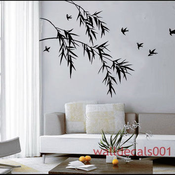 Bamboo Wall Decals Wall Stickers Kids decal  -bamboo with birds