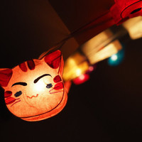 SALE Cat Kitty String Light- 20 mixed Cat Face String Lights Fairy lights Party Decor Wedding Garden Spa and Holiday Lighting