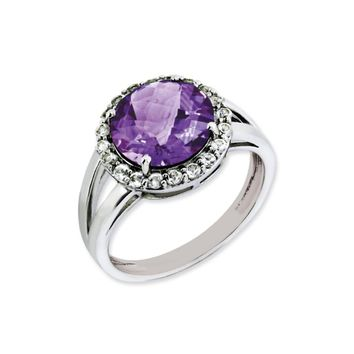 Amethyst And White Topaz Halo Ring in Sterling Silver