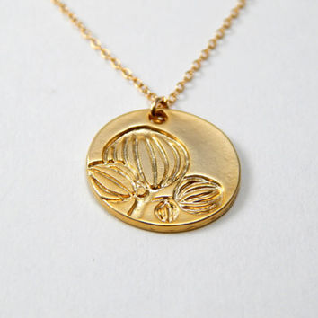 Floral coin necklace, flower necklace, lotus necklace, initial necklace, nature necklace, gold necklace, monogram necklace, disc necklace