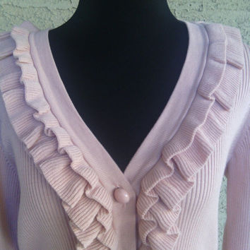 Talbot's pink sweater - medium cardigan - button front - ruffles - vneck - cotton and rayon sweater - petite medium sweater - pink cardigan