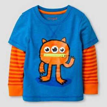 Baby Boys' Long Sleeve T-Shirt Baby Cat & Jack™ - Blue & Orange : Target