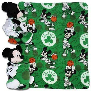 "BOSTON CELTICS 40""X50"" DISNEY MICKEY MOUSE HUGGER PILLOW & THROW BLANKET SET NEW"