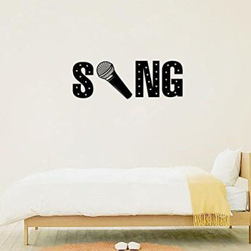 Sing with Microphone Silhouette Vinyl Wall Words Decal Sticker Graphic