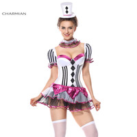 Charmian Sexy Harley Quinn Halloween Costume for Women Plus Size Cirque Du Burlesque Showgirl Carnival Cosplay Costume