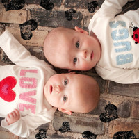 Valentine's Day Love Bugs TWIN Onesuit Set , Great Shower gift for TWINS or siblings