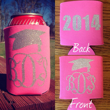 Koozie with Silver Glitter Monogram