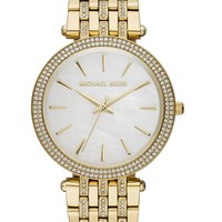 Michael Kors Watch, Women's Darci Glitz Gold-Tone Stainless Steel Bracelet 39mm MK3219