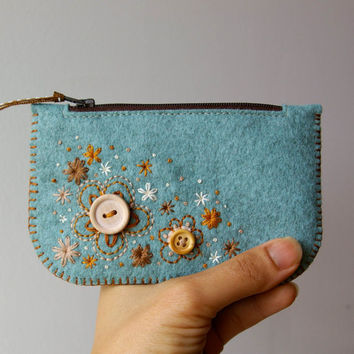 Wool Felt Coin Purse Wallet Sweet Blossoms by LoftFullOfGoodies
