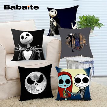 Babaite New Arrival Popular Cartoon Jack Skellington Nightmare Before Christmas Sally Throw Pillowcase Zippered Pillow Cover
