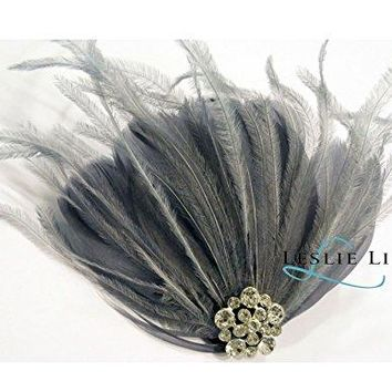 Leslie Li Womens Feather Crystal Hair Clip Bridal Party Accessory Headpiece One Size Gray F32