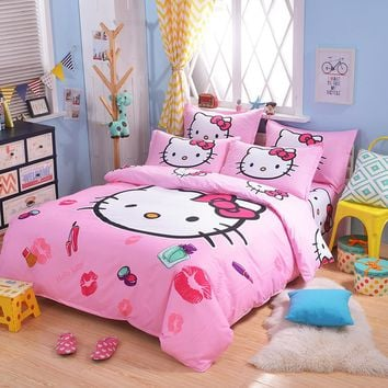 UNIKEA Cartoon Bedding Set for Child Girls Printed Duvet Cover Flat Sheet with Pillowcases Stars kt019