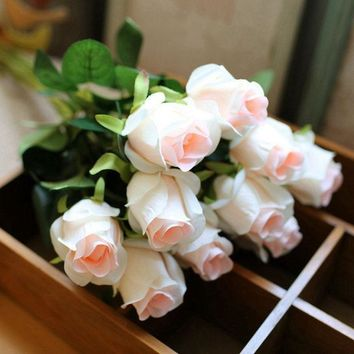 10pcs/lot High Quality Vivid Rose Artificial Flowers Desktop Silk Flower Simulation Fake Plant Wedding Houseware Home Decor