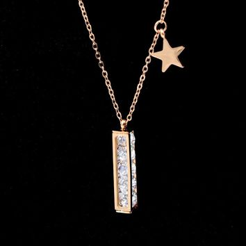 2018 Fashion Stainless Steel Love Cubic Zirconia Geometric Cube Star Pendant Necklaces Rose Gold Color Women Female Gift