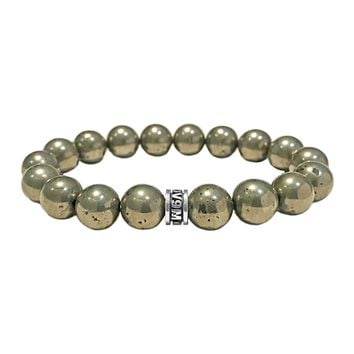 925 Sterling Silver 10mm Pyrite Beads Spiritual Bracelet