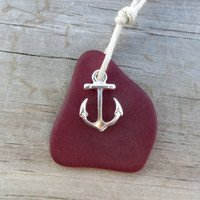 Rich Red Sea Glass Necklace Anchor Charm
