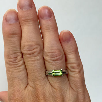 NATURAL Peridot Sterling Silver Ring Green Emerald Cut Gemstone Band August Birthstone Ring Birthday Gift for Her Estate Jewelry Ring Size 7