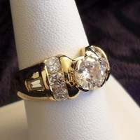 Vintage Cubic Zirconia Cocktail Ring, Size 8 // Vintage Jewelry Under 20 Dollars // Free Shipping