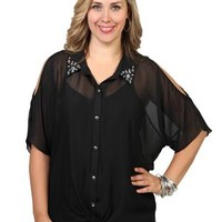 plus size cold shoulder dolman equipment top with stones on collar