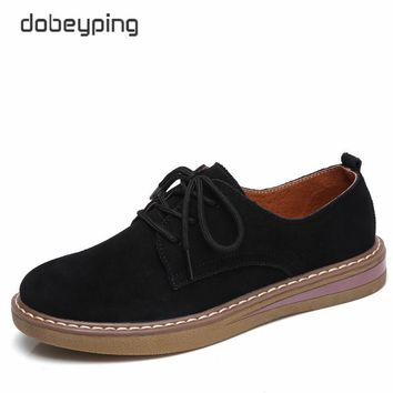 dobeyping 2018 New Spring Shoes Woman Cow Suede Leather Women Shoes Lace-Up Ladies Flats Shoe Soft Solid Oxfords Female Loafers