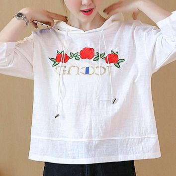 One-nice™ GUCCI Fashion floral embroidery hooded tee shirt top