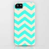 TURQUOISE CHEVRON PRINT iPhone Case by PASSION & PRINTS | Society6
