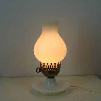 Vintage Hobnail Milk Glass Lamp