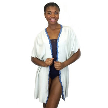 Larkspur - Pearl - Soft French Terry Robe - Grey/Indigo