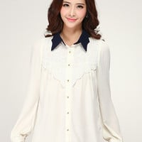 Kawaii Lolita Turn-down Collar Lace Splicing Chiffon Blouse - Navy Blue or White - S M L XL from Tobi's Finds