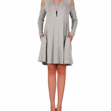 Women Heather Gray Long Sleeve Cold Shoulder Casual Shift Dress with Pockets